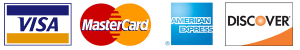 We take Visa MasterCard American Express and Discover cards